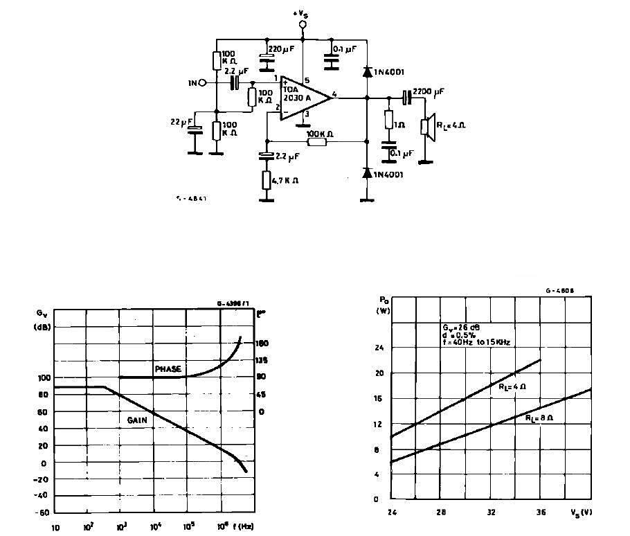TDA2030 по мостовой схеме.